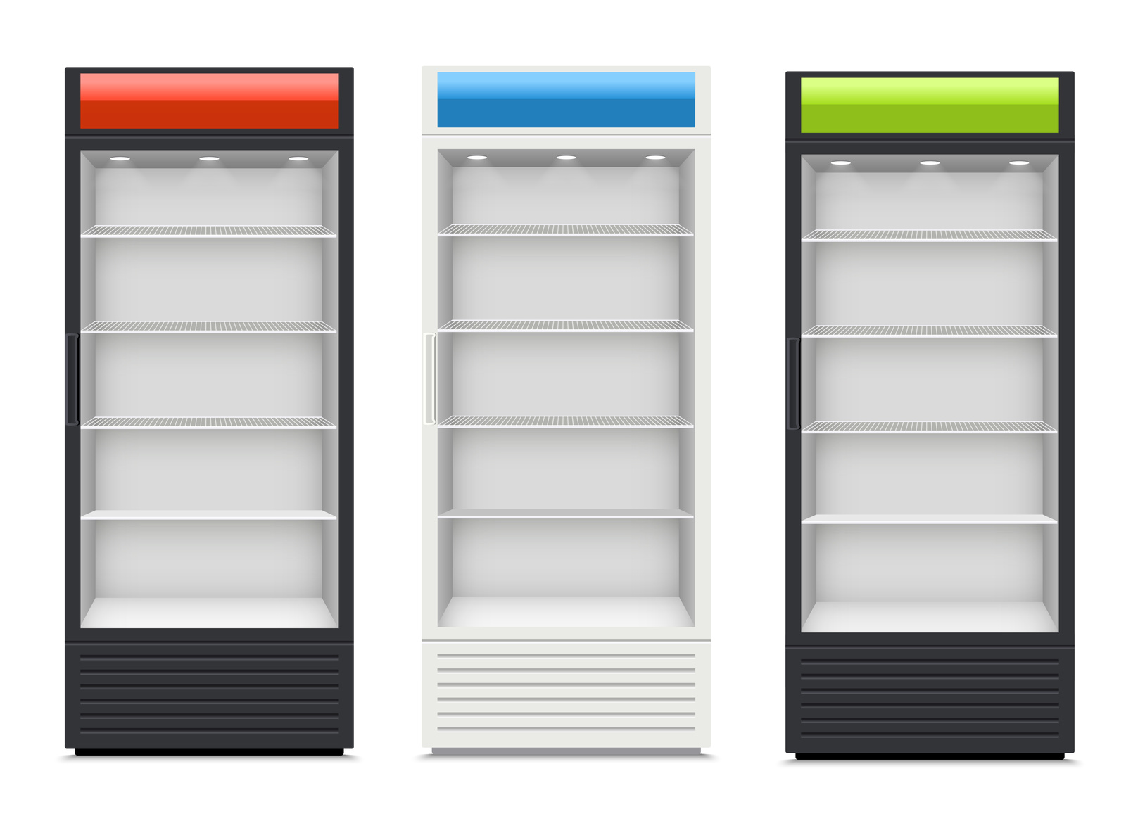 Fridges with glazed door on white background